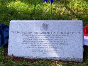 Marker placed by Basking Ridge and Beacon Fire Chapters in remembrance of Rochambeau's encampment at the English farm in Liberty Corner, NJ